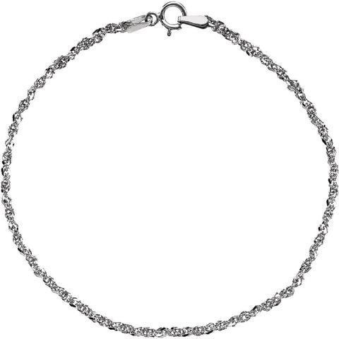 "14k White Gold 1.75mm Sparkling Singapore 16"" Chain"