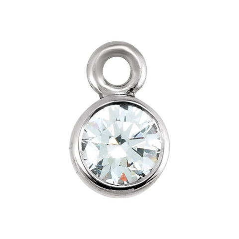 14k White Gold .07 CTW Diamond Micro Bezel Dangle
