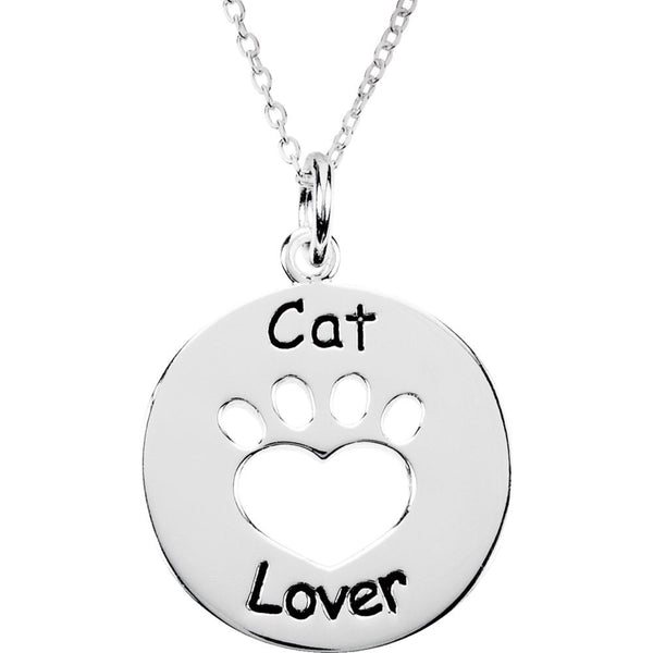 Sterling Silver Heart U Back™ Cat Lover Paw Pendant with Chain