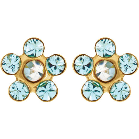 "14k Yellow Gold Imitation ""March"" Youth Birthstone Flower Inverness Piercing Earrings"