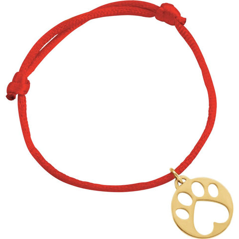 14K Yellow Gold Red Satin Cord Adjustable Bracelet With Paw Charm