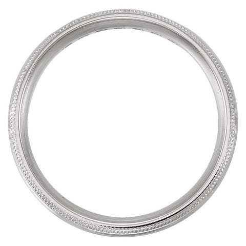 14k White Gold 5mm Half Round Comfort Fit Double Migraine Band Mounting Size 9.5