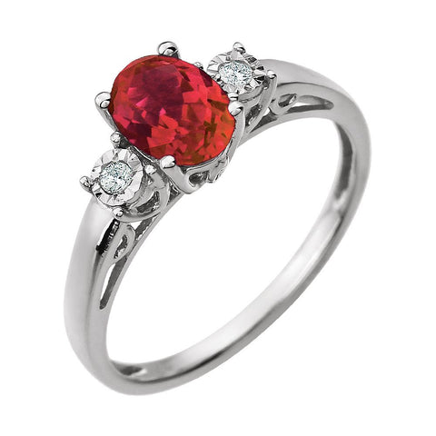 14k White Gold Created Ruby & .04 CTW Diamond Ring, Size 7