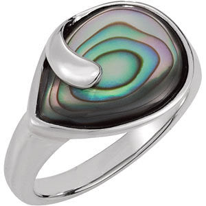 Genuine Abalone Ring in Sterling Silver ( Size 6 )