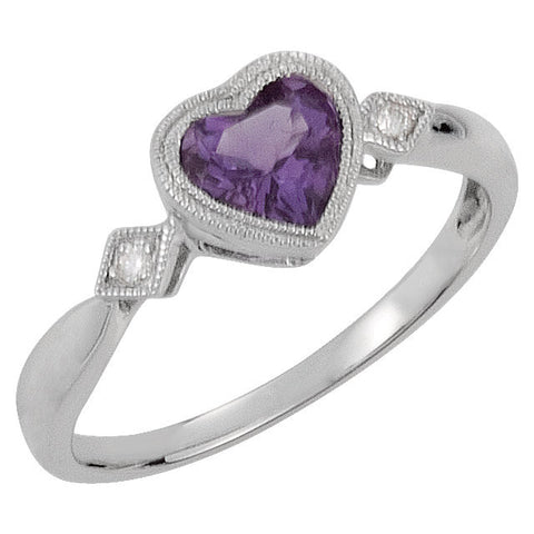 0.02 CTTW Genuine Amethyst and Diamond Heart Ring in 14k White Gold ( Size 6 )