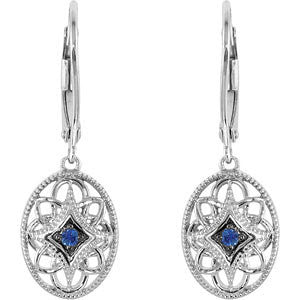 Sterling Silver Sapphire Lever Back Earrings