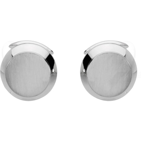 18k White Gold Men's Cuff Links