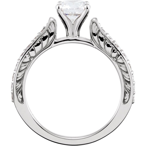 14k White Gold Cubic Zirconia & 3/8 CTW Diamond Sculptural-Inspired Engagement Ring Size 7