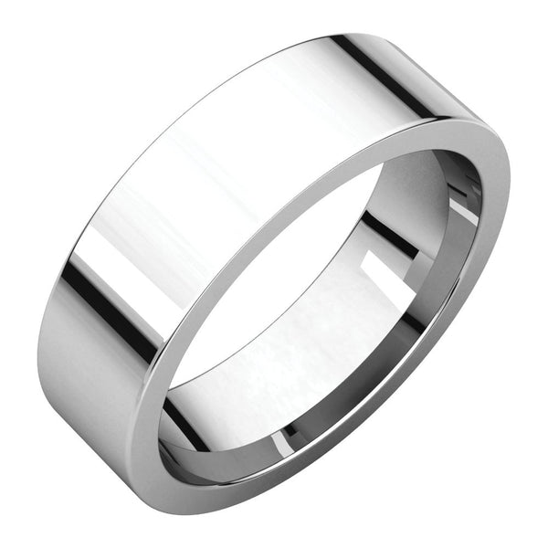 Continuum Sterling Silver 6mm Flat Comfort Fit Band, Size 7