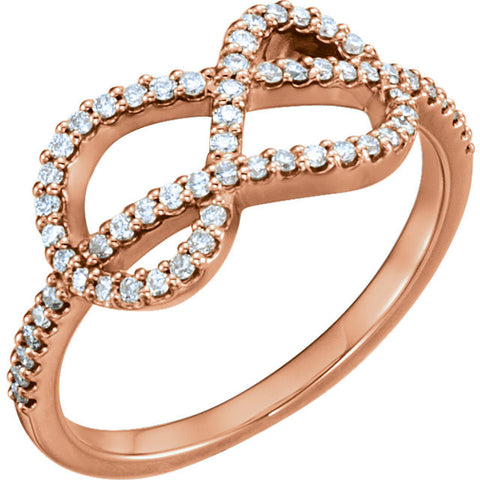 14k Rose Gold 1/3 CTW Diamond Knot Ring, Size 7