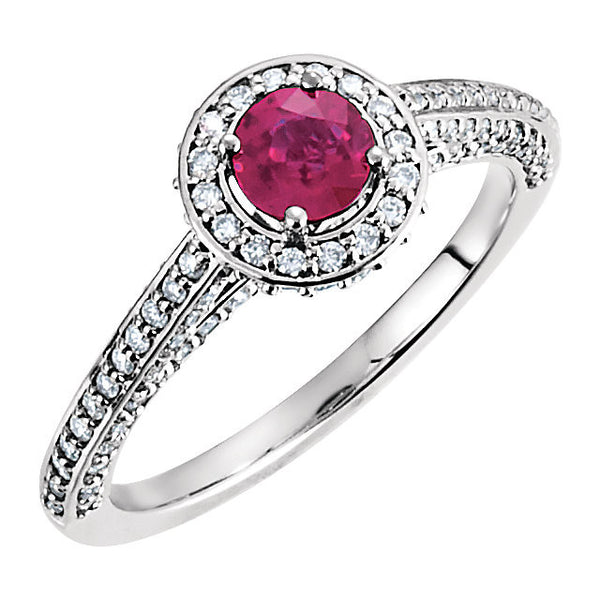 14k White Gold Ruby & 5/8 CTW Diamond Engagement Ring , Size 7