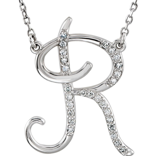 "Sterling Silver Letter ""R"" 1/8 CTW Diamond Initial 16"" Necklace"