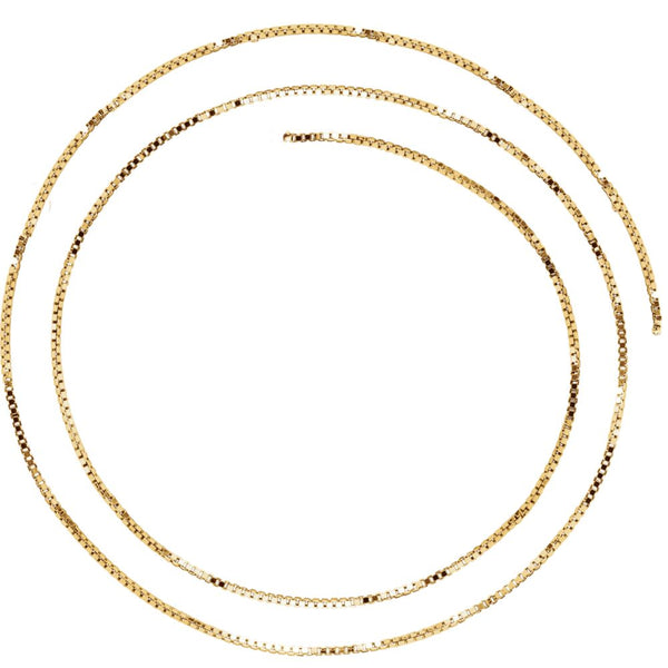 "14k Yellow Gold 1mm Solid Box 16"" Chain"
