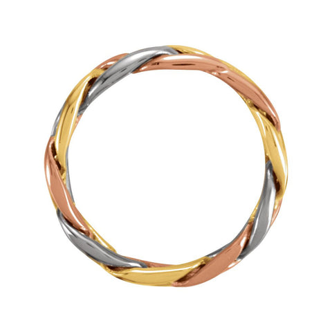 14K Yellow & White & Rose Gold 4.75mm Hand-Woven Band Size 6