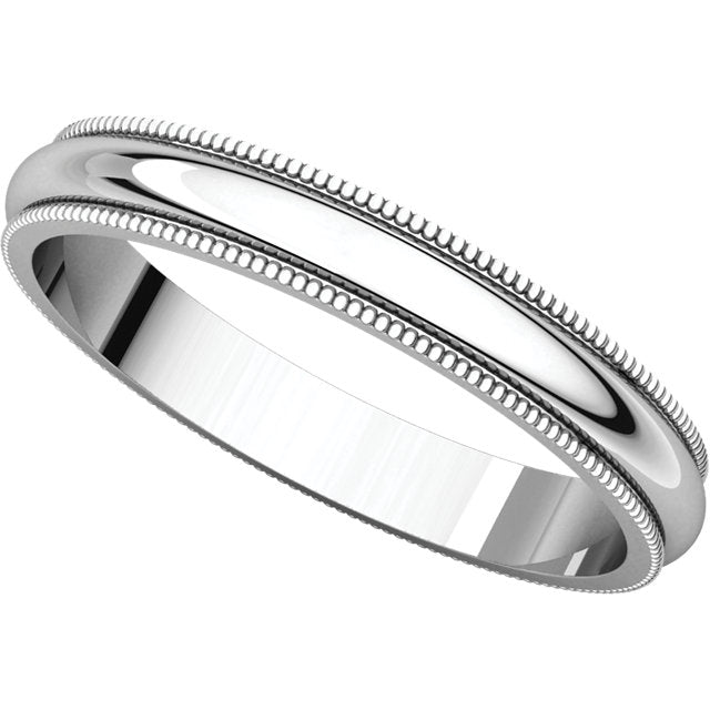 Continuum Sterling Silver 3mm Milgrain Band