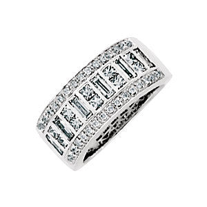 14k White Gold 1 1/4 CTW Diamond Anniversary Band , Size 6