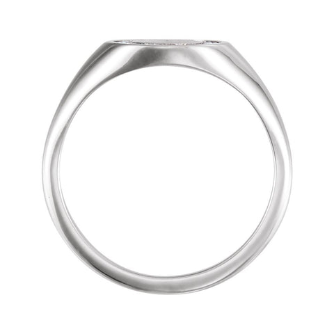 14k White Gold 1/6 CTW Diamond Signet Ring, Size 7