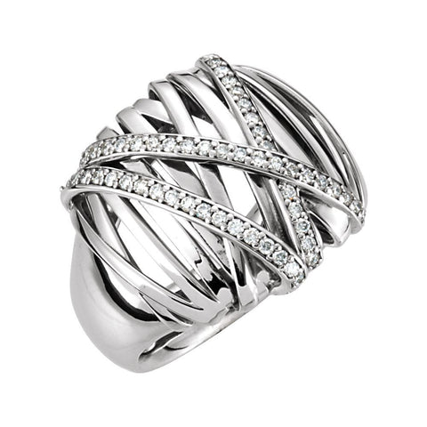 14k White Gold 1/2 CTW Diamond Nest Design Ring, Size 7