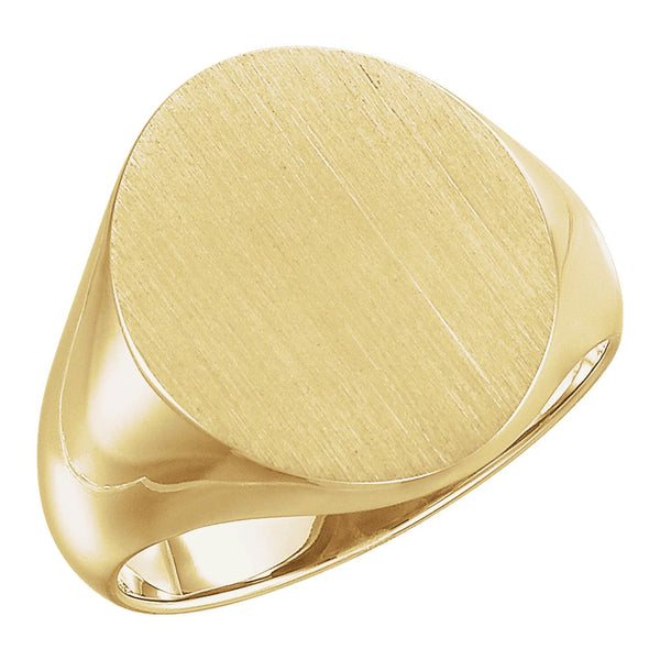 10k Yellow Gold 18x16mm Men's Signet Ring with Brush Finish, Size 10