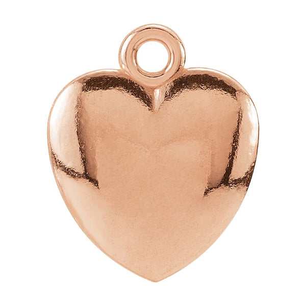 14k Rose Gold 10.85x8.9mm Puffed Heart Charm