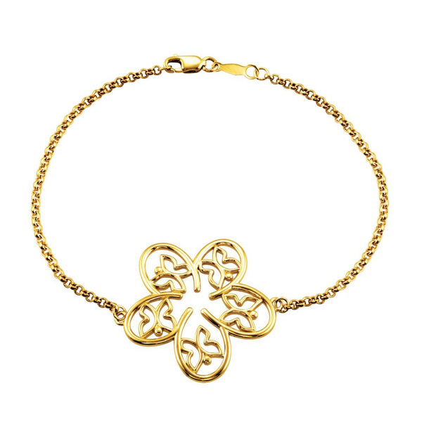 "14k Yellow Gold Flower & Butterfly 7.5"" Bracelet"