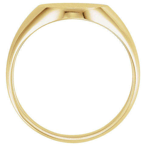 10k Yellow Gold 14x12mm Men's Signet Ring with Brush Finish, Size 10