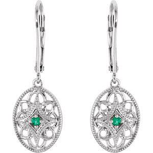 Sterling Silver Emerald Lever Back Earrings