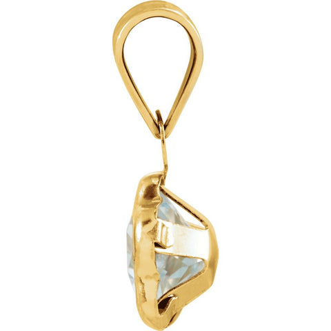14k Yellow Gold March CZ Birthstone Pendant