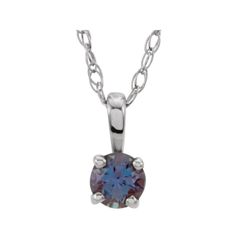 "14k White Gold Imitation Alexandrite ""June"" Birthstone 14-inch Necklace for Kids"
