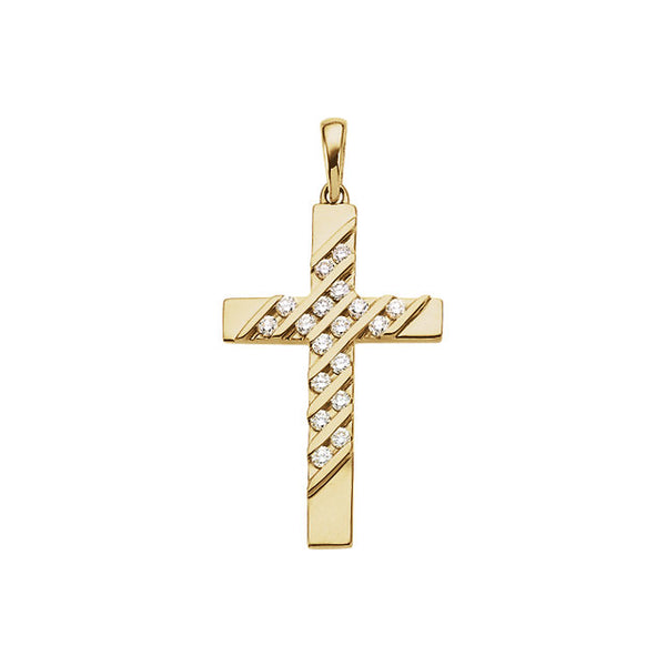 14k Yellow Gold .36 CTW Diamond Cross Pendant