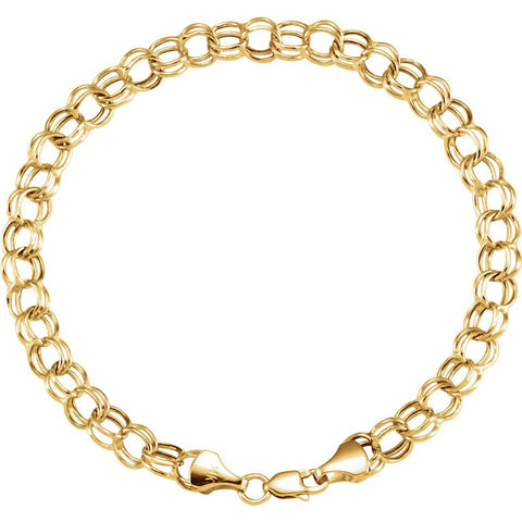 "14k Yellow Gold 7.9mm Hollow Double Link Charm 8"" Bracelet"