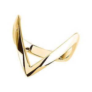 "14k Yellow Gold ""V"" Ring, Size 6"