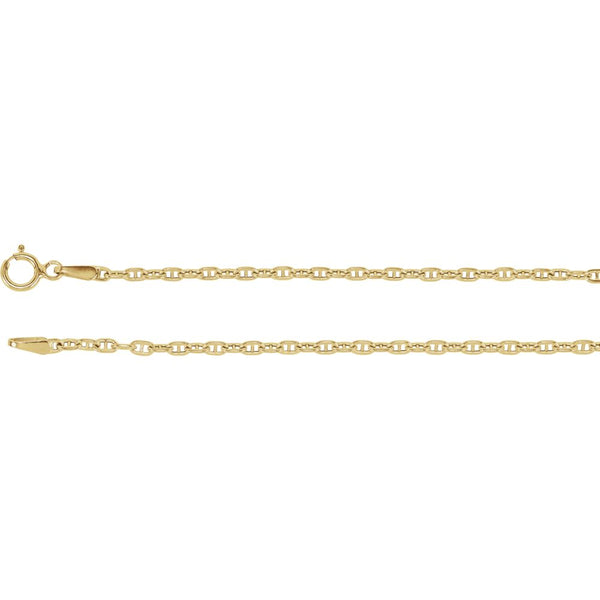 "14k Yellow Gold 1.75mm Hollow Anchor 18"" Chain"