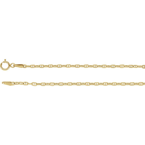 1.75 mm Hollow, Anchor Chain in 14k Yellow Gold ( 16-Inch )