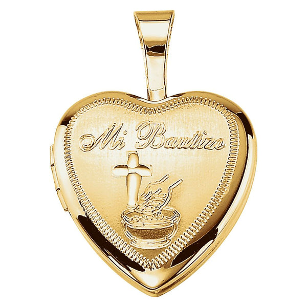 Gold Plated & Sterling Silver Bautizo Heart Locket