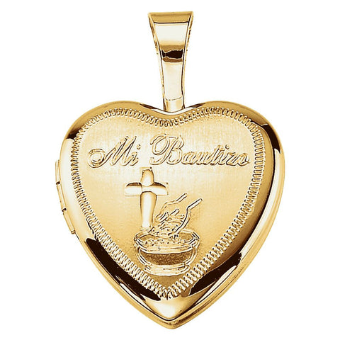 Bautizo Heart Locket in Gold Plated Sterling Silver