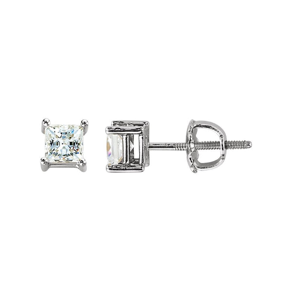 14k White Gold 4.5mm Cubic Zirconia Square Earrings with Screw Posts & Backs