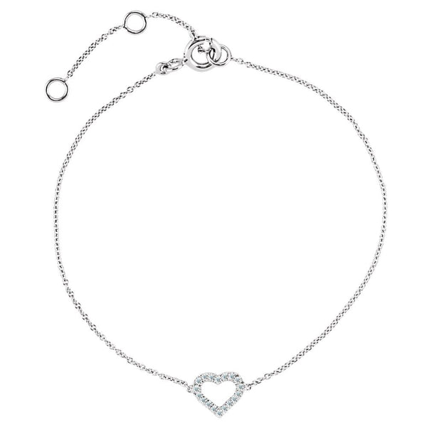 "14k White Gold .06 CTW Diamond Heart 7"" Bracelet"