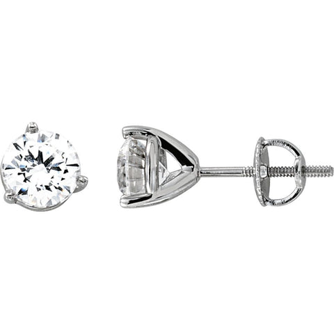 14k White Gold 6.5mm Cubic Zirconia Round 3-Prong Stud Earrings