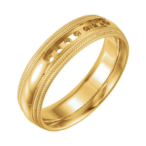 14k Yellow Gold 5mm Half Round Comfort-Fit Double Milgrain Wedding Band Mounting, Size 9.5