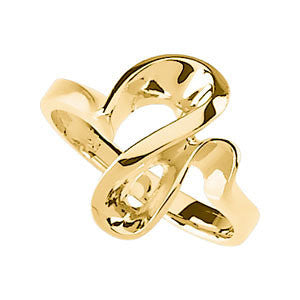 14k Yellow Gold Freeform Ring, Size 6