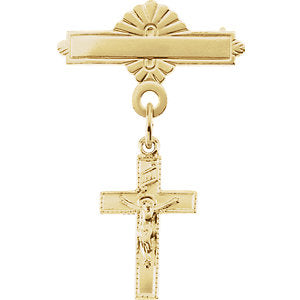 14.00x09.00 mm Crucifix Cross Baptismal Pin in 14K Yellow Gold