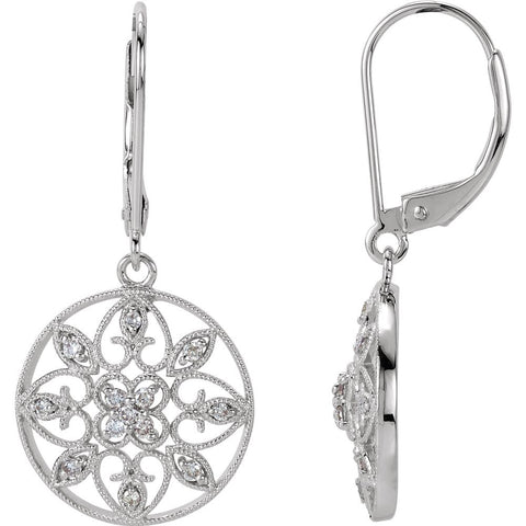 14k White Gold 1/4 CTW Diamond Filigree Lever Back Earrings
