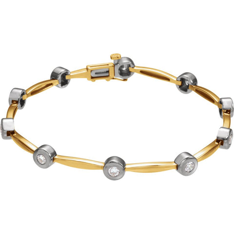 14K Yellow Gold/White 1 CTW Diamond Line 7.5-Inch Bracelet
