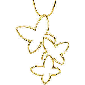10k Yellow Gold Fashion Butterfly Pendant
