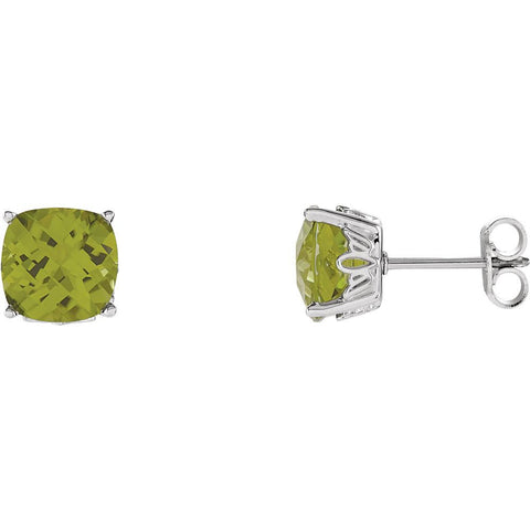 14k White Gold Peridot Earrings