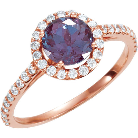 3/8 CTW Diamond and Alexandrite Engagement Ring in 14k Rose Gold (Size 6 )