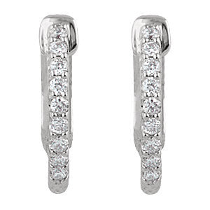 14k White Gold 1/4 CTW Diamond Inside/Outside Hoop Earrings