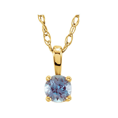 "14k Yellow Gold Imitation Alexandrite ""June"" Birthstone 14-inch Necklace for Kids"