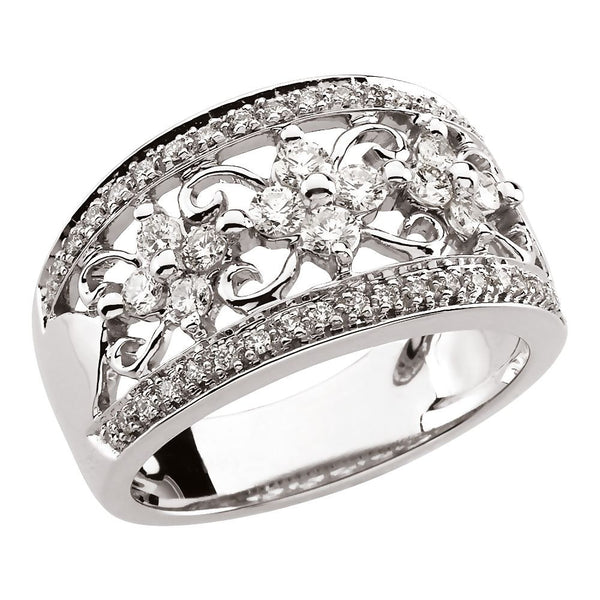 14k White Gold 3/4 CTW Diamond Anniversary Band, Size 6